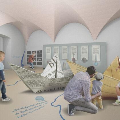 Expozice A. Muchy v Ivančicích, design Jana Vodičková (spolupráce Láďa Ptáček a další)